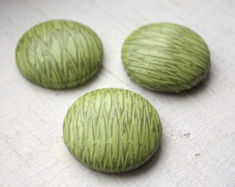 4 Large Flat back Cabochon Buttons // 1960s // Alligator Green // 28 mm