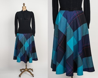 Vintage Plaid Circle Skirt - 1980s Wool Midi Skirt with Pockets - 80s Full Skirt in Blue, Teal & Fuchsia Pink - M