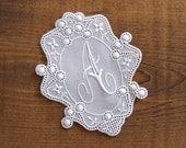 Vintage 3.5 inch cotton monogram initial A - vintage needlecraft supplies handcraft supply wedding deco supply