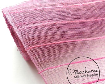Raffia Stripe Detail Sinamay Fabric (1/2 yard) for Millinery, Fascinators and Hat Making - Lavender with Pink