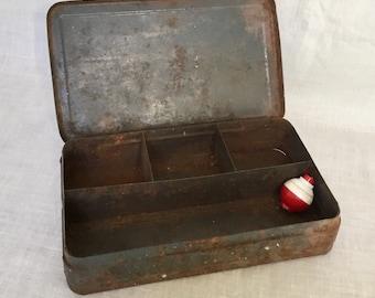 Vintage Small Rusty Metal Tackle Box