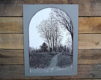 Old Horse Barn and Trees Poster