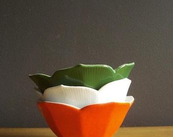 30% off SALE Bright Spot of Color - Set of Three Vintage Lotus Bowls - Orange, White, Green