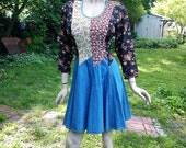 35% OFF 80s Dress/  Vintage Dress/ 80s Costume / Denim Dress  in Floral Print Bodice with Scalloped Denim Skirt by Tickets Size 10