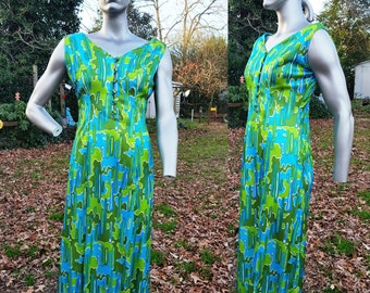 45% OFF Designer Dress, 60s Maxi Dress, 60s Costume, 60s Mod Dress, Vintage Dress, Vintage Costume, 60s Dress in Green & Blue by Arpegio  Si