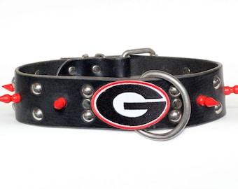 "Black Dog Collar - 2"" Black Leather Georgia Bulldogs Dog Collar - Black Leather Bulldogs Collar - Ready To Ship - Fits 20"" to 24"" Necks"