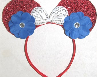 10 minnie mouse inspired party favor headband bow ears disneyland birthday hair accessorie 4th of july party  10 red blue white 10