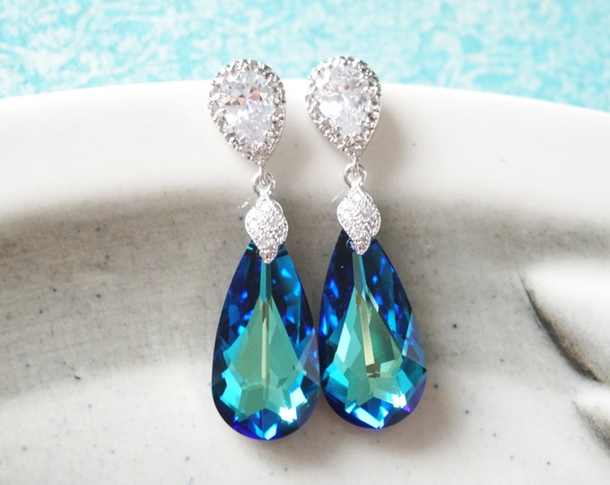 Wasima - Bermuda Blue Faceted Teardrop Crystal Earrings, Something blue, Peacock Wedding, Bridal Earrings, Bridesmaid Jewelry, Weddings