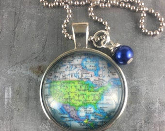 Map Pendant Necklace United States of America USA