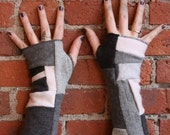 100 percent cashmere fingerless gloves - patchwork armwarmers - cashmere gloves - black pink gray