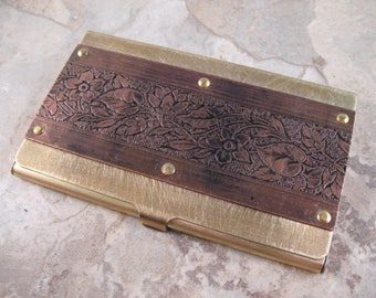 Riveted, Botanical Copper and Brass Business Card Case
