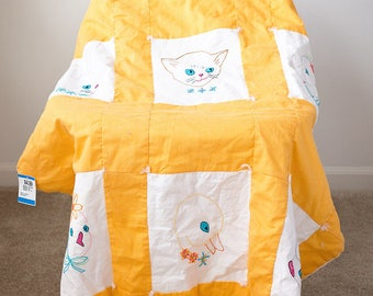 Sweet Vintage Embroidered Quilt Baby Blanket