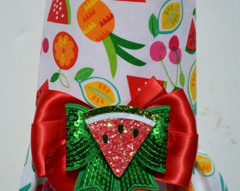 Dog Harness Vest - Custom Dog Dress - Fruit Salad - (Summer Spring Watermelon Pineapple)