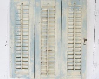 Old Shutter Set, Blue Mini Shutters, Farmhouse Decor, Rustic, Shabby and Chic, Salvaged Reclaimed, Wedding Decor, Office Decor, Organization