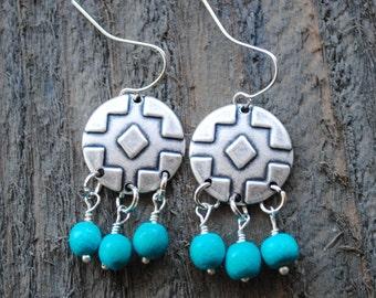 Aztec Dangle Earrings - Turquoise Earrings - Boho Earrings, Tribal, Southwest, Geometric, Warrior