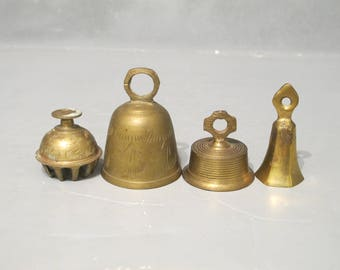 Vintage Brass Bell Set of 4 / Rustic Old Ornamental Etched Bells with Aged Patina & Verdigris Unusual Elephant Claw Bell, Primitive Folk Art