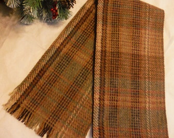 "Vintage Winter Warm Earthtones Plaid Browns Rusts Grays Camel Virgin Wool Scarf Muffler  58""x7"" Well Made"