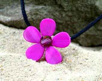 Fiery Fuchsia Swarovski Crystal & Mother of Pearl Flower Necklace