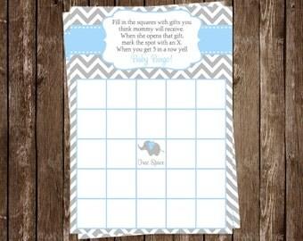 Elephant Bingo, Baby Shower, Game Card, Blue, Boys, Gray, Chevron Stripes, Aqua, 24 Printed Cards, FREE Shipping, CELBL, Little Peanut