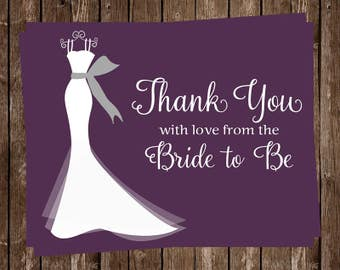 Bridal Shower Thank You Cards, Wedding Dress, Purple, Gray, White Gown, Set of 24 Notes with Envelopes, FREE Ship, ELGPL, Elegant Gown Plum