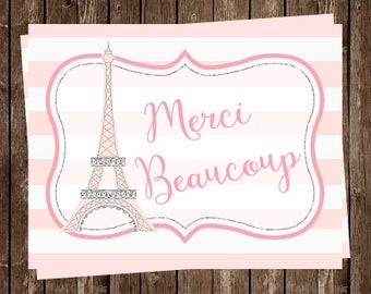 Paris Thank You Cards, French, Pink, Girl, Merci Beaucoup, Eiffel Tower, France, 24 Cards with Envelopes, FREE Ship, OHLAL, Oh La La