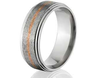 Copper Ring Titanium Wedding Ring Copper Inlay Ring Titanium Wedding Band Titanium Wedding Ring Copper Jewelry Wedding Ring : 82S11G-COPPER