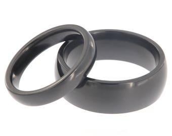 Black Zirconium His & Her Ring Set - USA Made Comfort Fit Design - Black Rings Bands