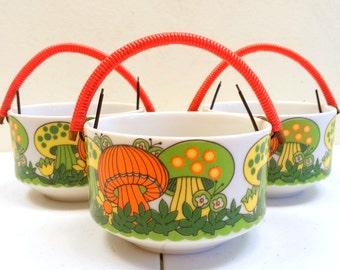 Retro Psychedelic Mushroom Pots Set of Three