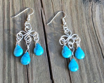 Sterling Silver Turquoise Teardrop Chandelier Western Earrings for Birthday Anniversary Christmas Gift for Wife or Mother
