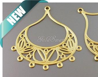 2 lightweight large matte gold teardrop filigree with multiple loops, metal filigrees 1158-MG