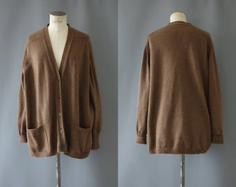 Brown woolen oversized cardigan   1970's by Cubevintage   large to extralarge