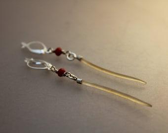 Browse - Alaska Native walrus whisker and glass earrings