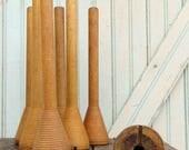 "SaleToday Beehive Bobbins Honey Blonde Wood 10 1/2"" Tall Primitive Vintage Industrial Rare Tall Wooden Fiber Thread Spools Organize Decorate"