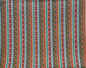 Vintage Border Strip Fabric - 1 and  1/2 Yards  -Golds and Reds - Lightweight Cotton -