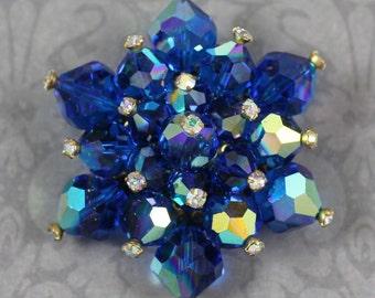 Vintage Blue AB Crystal Beaded Gold Cluster Brooch