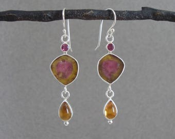 Watermelon Tourmaline, Rhodolite Garnet, Citrine Earrings in Sterling, Pretty Dangle Earrings