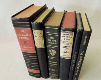 Old Books Black - Instant Library - Black Book Stack - Bookshelf Decor