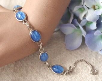 Vintage Star Sapphire Link Bracelet - Silvertone Blue Glass Star Sapphire w Safety Chain