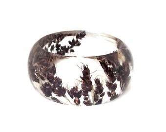 Size Small Black Sorghum Resin Bracelet -  Handmade Resin Jewelry -  Pressed Flower Bracelet for the Gardener or Nature Lover. Engraved