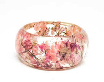 Size Small Pink Botanical Resin Bangle. Chunky Bangle Bracelet.  Pressed Flower Resin Cuff.  Real Flowers - Pink Larkspur