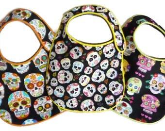 Sugar Skulls Baby Bibs - set of 3 bibs, baby boy or baby girl baby bib