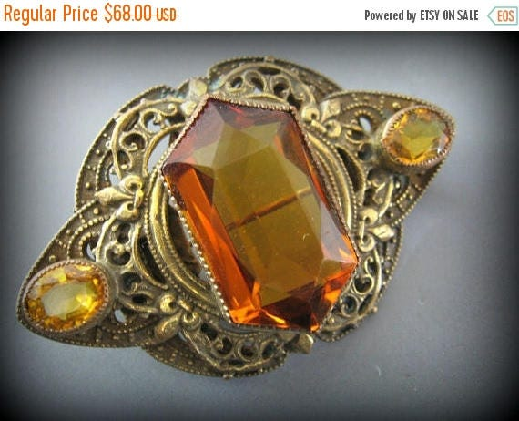 SALE CLEARNCE SALE Lovely Art Nouveau Amber Czech Glass Vintage Brooch
