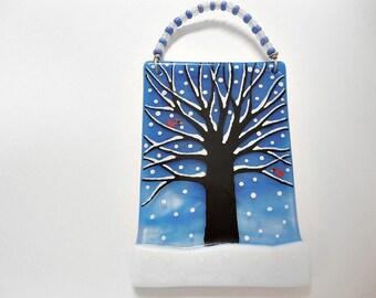Glass Snowy Tree Ornament Suncatcher Christmas with cardinals
