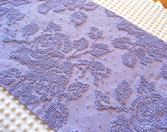 """Lavender Roses and Pearls Hobnail Vintage Chenille Bedspread Fabric 16.5"""" x 31""""  #2"""