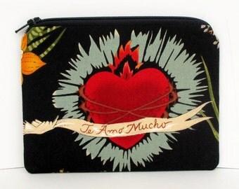 Small Zipper Pouch, Frida Heart of Love, Black Coin Purse, Te Amo Mucho
