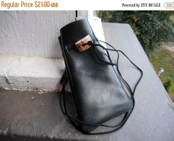 Akasha Black Leather & Deer antler button medicine Pouch Organic Shaman Worry amulet bag