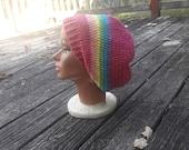 Mütze rosa Regenbogen Hippie-Schlapphut