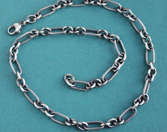 Large Link Sterling Silver Chain Necklace, Long Link Chain Necklace