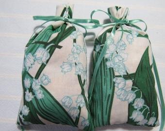 "Ivory 4""X2"" Sachet-'Lily of the Valley' Fragrance-Lily of the Valley Sachet-Cotton Botanical/Herbal Sachet-Cindy's Loft-061"
