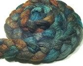 BFL & tussah silk hand dyed roving - spinning and felting fiber - 5 oz Starfish - hand painted combed wool top - earthy ocean spinning top